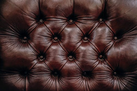 Close up of brown leather upholstery Edinburgh